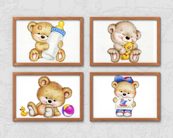 Kit 4 Quadros Infantis Cute Baby Bear