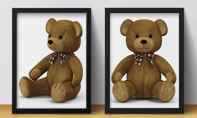 Kit 2 Quadros Infantis Cute Teddy Bear
