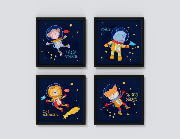 "Kit 4 Quadros Infantis ""Huge Space"" ""Space Fun"" ""Cute Astronaut"" ""Space Party"""