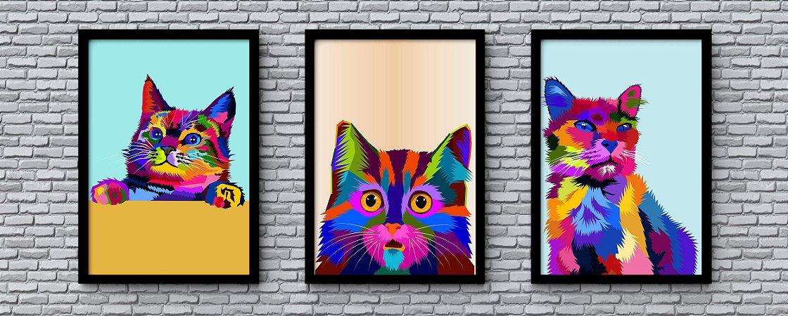 Kit 3 Quadros Decorativo Juvenil Abstract Cat