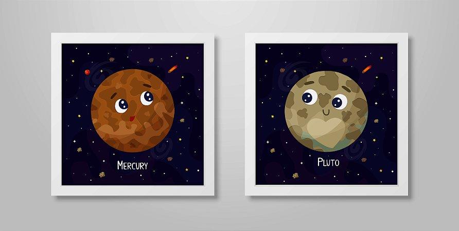 Kit 2 Quadros Infantis Decorativos Cute Cartoon Planets Mercury & Pluto