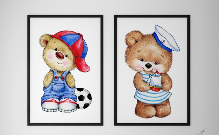 Kit 2 Quadros Decorativos Infantis Cute Teddy Bear Boy  And Cute Teddy Bear Sailor