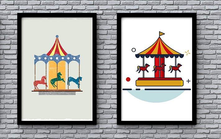 Kit 2 Quadros Infantis Decorativos Carrossel