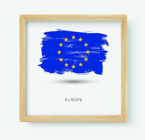 Quadro Decorativo Juvenil Europe Continent Flag