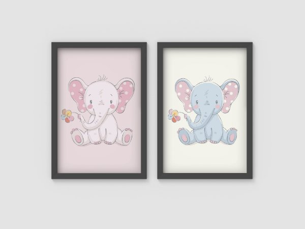 Kit 2 Quadros Infantis Cute Baby Elephants