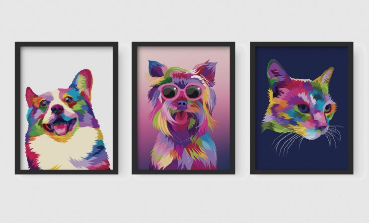 Kit 3 Quadros Decorativos  Abstract Dogs And Abstract Cat