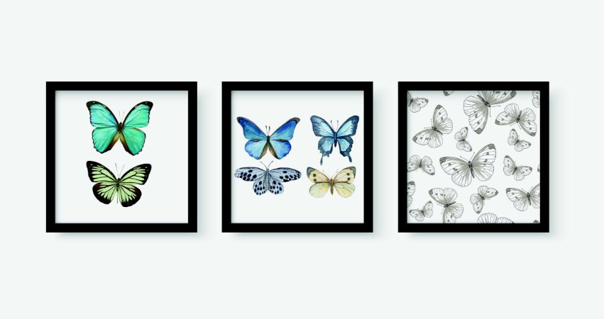 Kit 3 Quadros Juvenil Butterflies