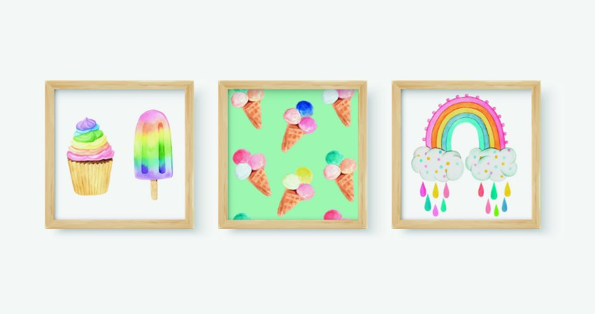 Kit 3 Quadros Decorativos Rainbow Ice Cream And Cupcake Cloud Rainbow Drops