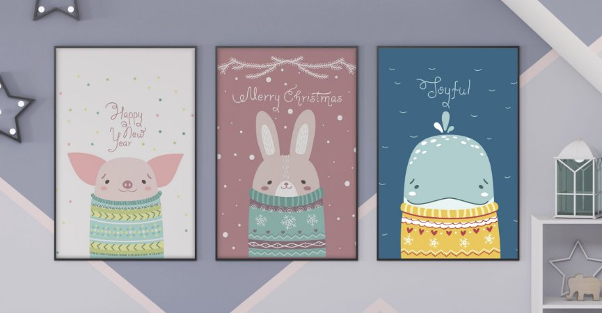 Kit 3 Quadros Decorativos Infantis Cute Cartoon Happy New Year Merry Christmas And Toyful