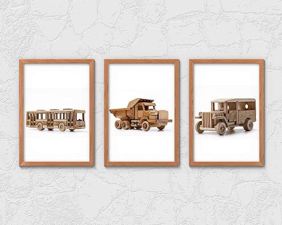 Kit 3 Quadros Juvenil Wooden Bus And Trucks