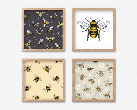 Kit 4 Quadros Decorativos Bee Arts