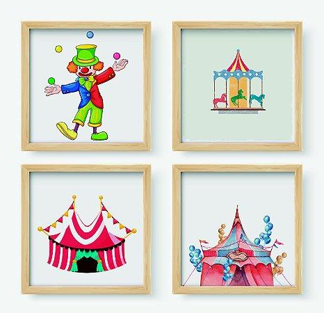 Kit #2 - 4 Quadros Decorativos Infantil Temático Circo