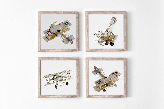 Kit 4 Quadros Infantil/Juvenil Aluminium Toy Airlane