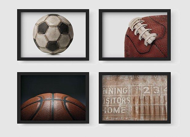 Kit 4 Quadros Decorativos Juvenil Balls And Sports Equipements