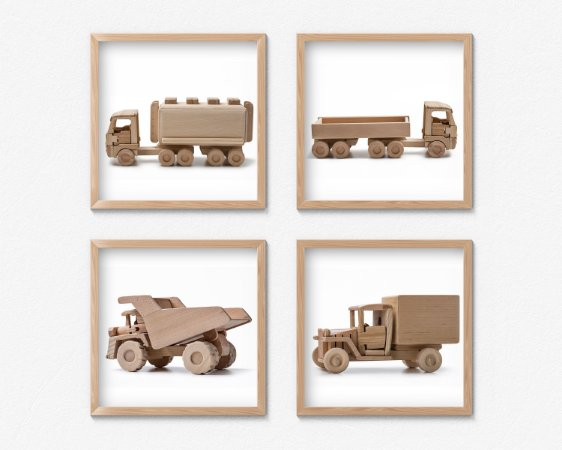 Kit #2 - 4 Quadros Infantil Wooden Toys Trucks