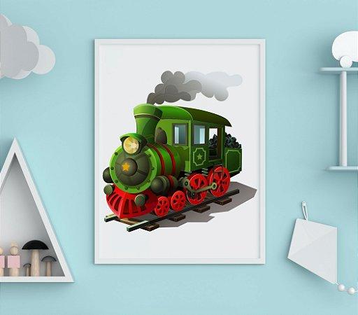Quadro Decorativo Infantil Green Steam Locomotive