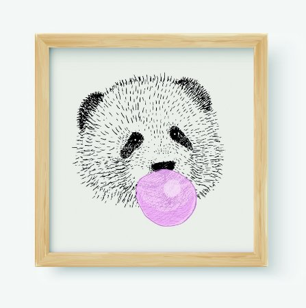 Quadro Decorativo Infantil Panda Bubble Gum