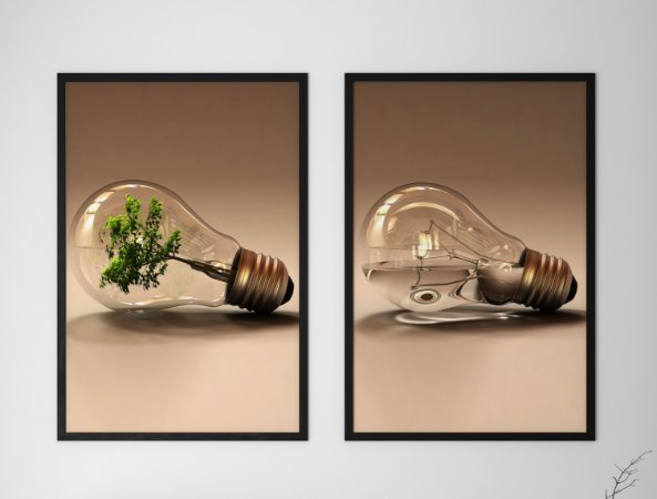 Kit 2 Quadros Decorativos Abstratos Light Bulb With a Tree Inside It And Light Bulb With a Water