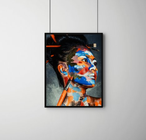 Quadro Decorativo Abstrato Emotions Of Asian Woman With Face Art