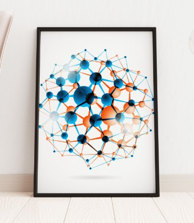 Quadro Decorativo Molecular Structure In The Form Of A Sphere