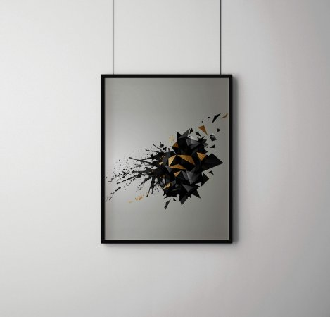 Quadro Decorativo Abstrato Geometric Abstract With Black Color And Gold Texture