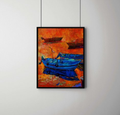 Quadro Decorativo Abstrato Oil Painting Of Boats And Jetty (Pier)