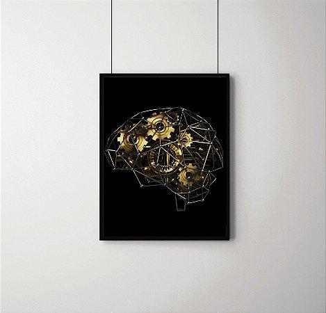 Quadro Decorativo Gears And Machine Part In Shape Of Brain