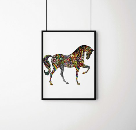 Quadro Decorativo Abstrato Horse And Rainbow