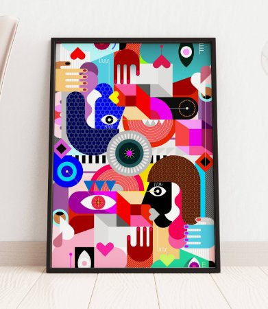 Quadro Decorativo Abstract Geometric Style Group Of People