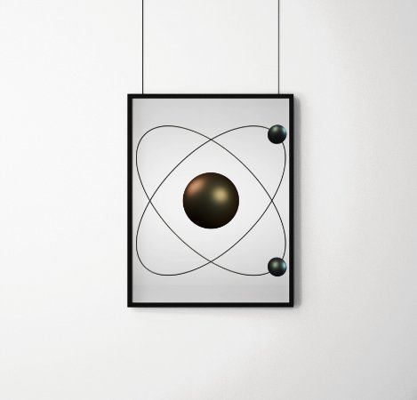 Quadro Decorativo 3D Illustration Of An Atom Model With A Nucleus And Two Electrons