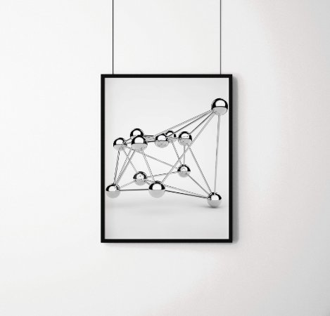 Quadro Decorativo Atomic Crystal Lattice Of Silver