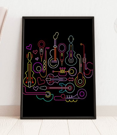Quadro Decorativo Neon Colors On A Black Background Musical Instruments Design