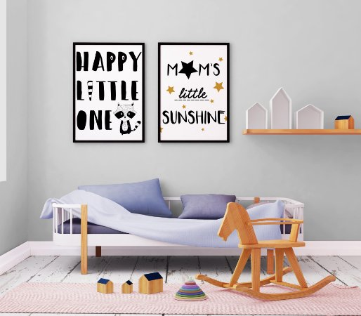 Kit 2 Quadros Decorativo Infantis Happy Little One And Mom's Little Sunshine