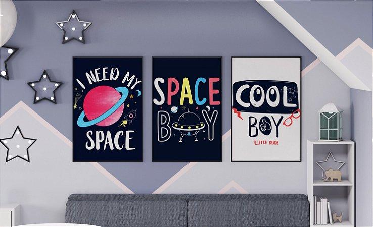 Kit 3 Quadros Decorativos Inafantis Space Theme