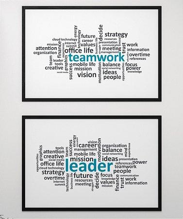 "Kit de 2 Quadros ""Team Work"" e ""Leader"""