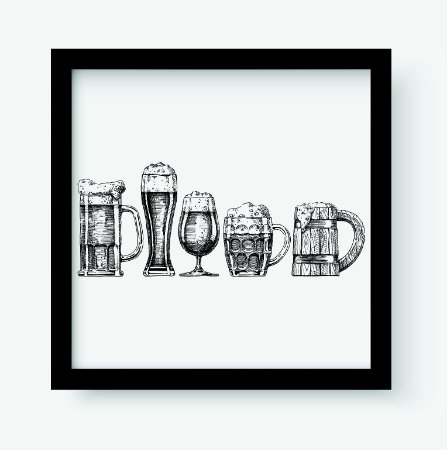 Quadro Decorativo Gourmet Set Of Beer Glasses And Mugs