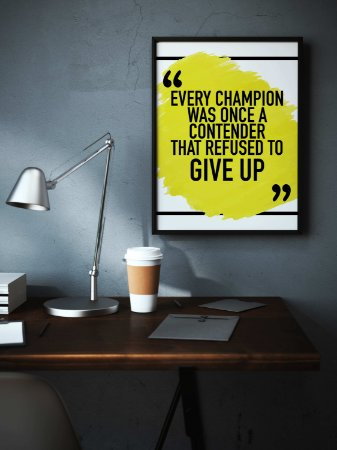"""Quadro decorativo """"Every champion was once a contender that refused to give up"""""""