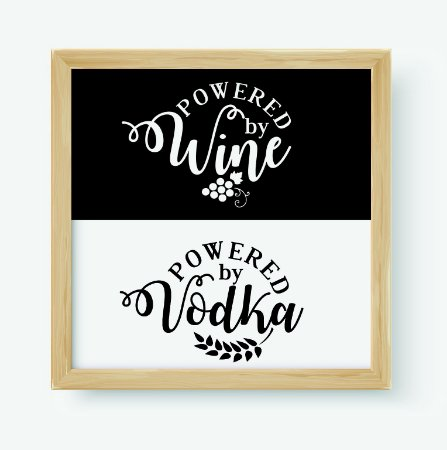 Quadro Decorativo Gourmet Powered By Wine & Powered By Vodka