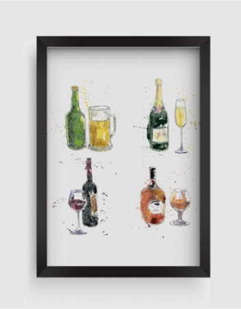Quadro Decorativo Gourmet Cognac, Beer, Champagne, Wine Bottle And Glass