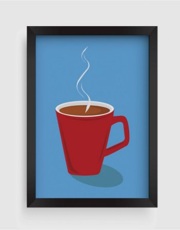 Quadro Decorativo Gourmet Red Cup Of Coffee
