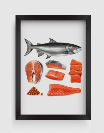 Quadro Decorativo Gourmet Salmon Fish Raw Steaks And Caviar
