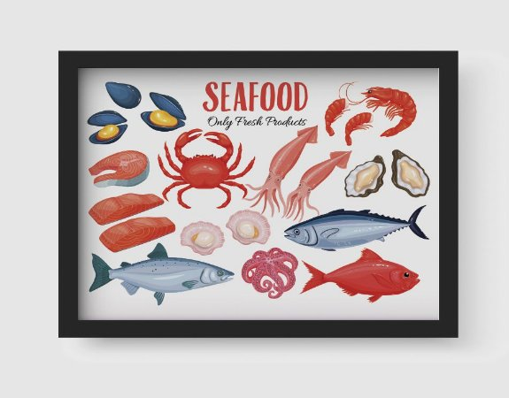 Quadro Decorativo Gourmet Seafood Only Fresh Products