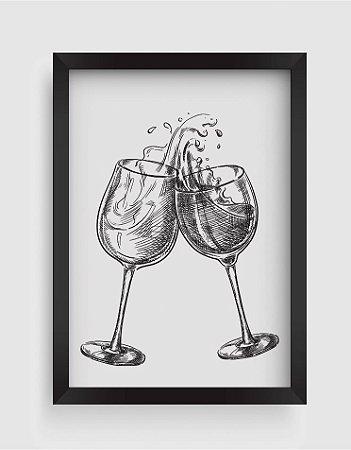 Quadro Decorativo Gourmet Two Wine Glasses With Splash Drinks