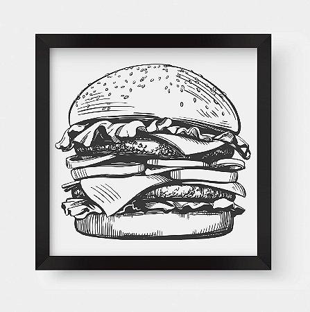 Quadro Decorativo Gourmet Big Burger, Black And White Hamburger Illustration