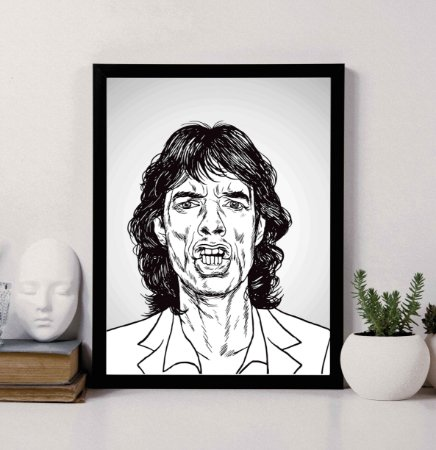 Quadro Decorativo Mick Jagger Caricature