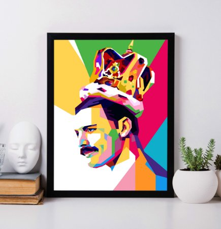 "Quadro Decorativo ""Freddie Mercury The King"" in the modern pop art style."