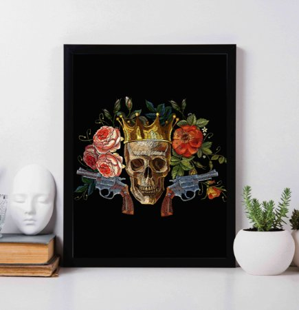 """Quadro Decorativo """"King Skull with Flowers and Guns"""""""