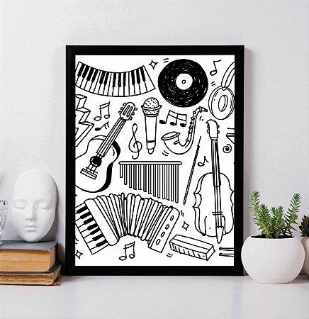Quadro Decorativo Musical - Instrumentos Musicais Preto e Branco.