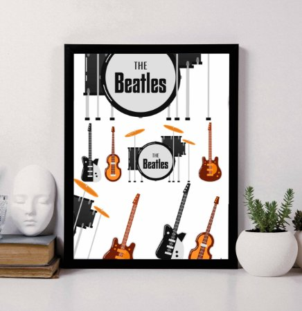 Quadro Decorativo Musical - Instrumentos Musicais The Beatles.