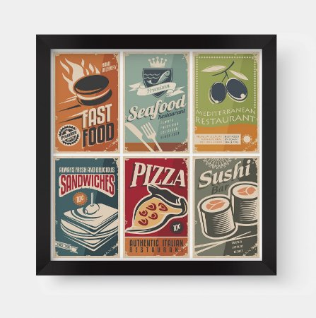 Quadros Decorativos Gourmet Vintage Fast Foods